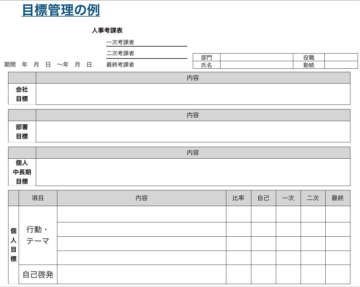 人事評価制度 目標管理制度の例